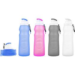 Foldable Portable Silicone Water Bottle PA Free Non-Toxic -