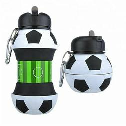 Sports Water Bottle Football With Straw Foldable Collapsible