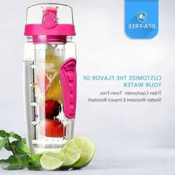 Fruit Infuser Water Bottle 32oz BPA Free Flip Top Lid & Dual