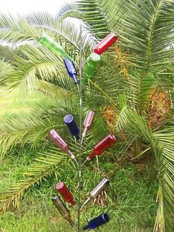Garden BOTTLE TREE yard art metal stake wine 6 ft. tall