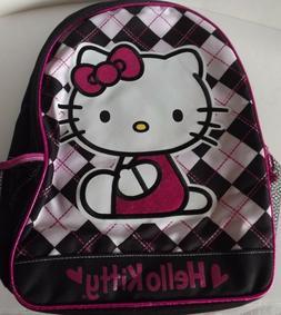 "Hello Kitty Girl's Kids Backpack 16"" Pink Black White Plaid"