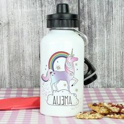 Girls PERSONALISED Kids Water Bottle Name Juice Drink - Name