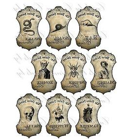 Halloween apothecary 9 bottle jar labels potion spider zombi