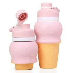 kids silicone water bottle, soft squishable and portable