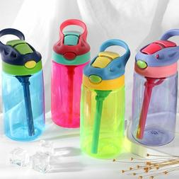 Kids Sports Water Bottle With Straw And Button Carrier Handl