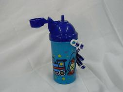 Kids Water Bottle Decorated with Trains, Flip Top!!