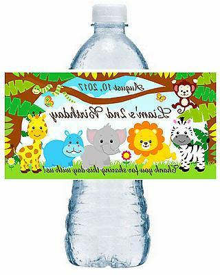 20 jungle safari zoo birthday water bottle