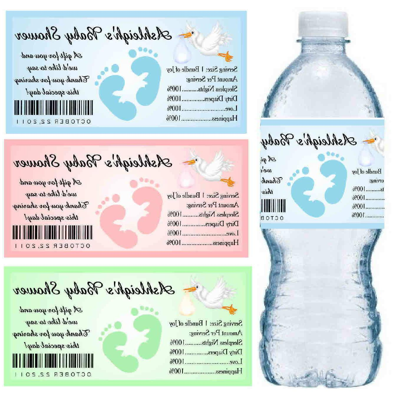 30 baby shower water bottle labels party