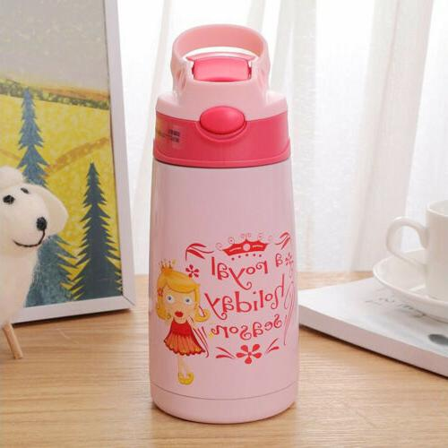400ml Kid Baby Water Bottle Portable Insulated Cup with Stra