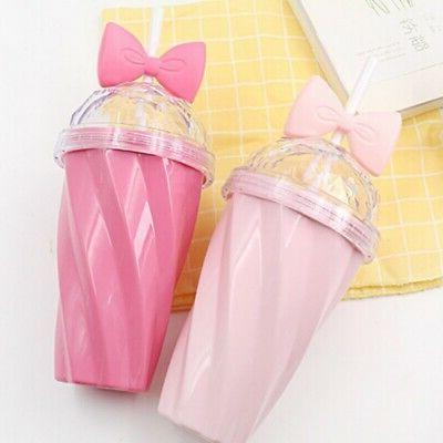 400ML Portable Bow Cup with Straw Girls Sport Plastic Fruit