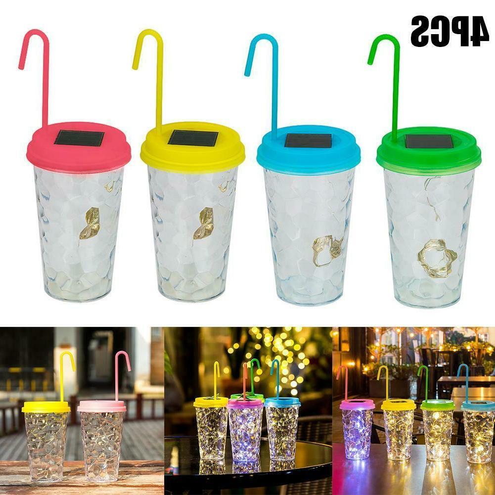 4pcs Innovative Bottle Lights Milk Tea Cup Lid Light Solar L