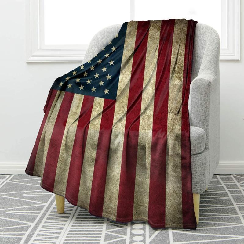 Jekeno Vintage Flag Warm Throw Blanket For