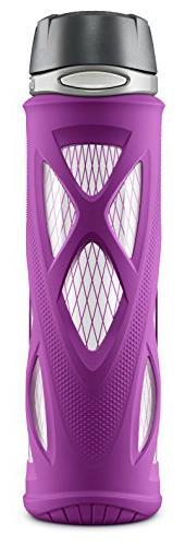 ZULU Atlas Glass Water Bottle with Flip Lid, Purple, 20 oz