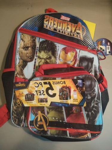 avengers backpack water bottle zip case lunch