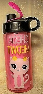 Cool Gear Cat Check Meowt 16 oz Pink Flip-Top Kitty Kitten T