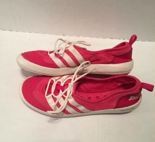 climacool womens pink white boat lace water