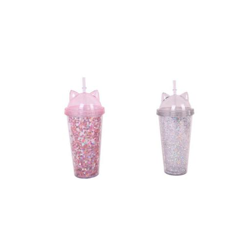 drinking cat straw gift double drinkware plastic