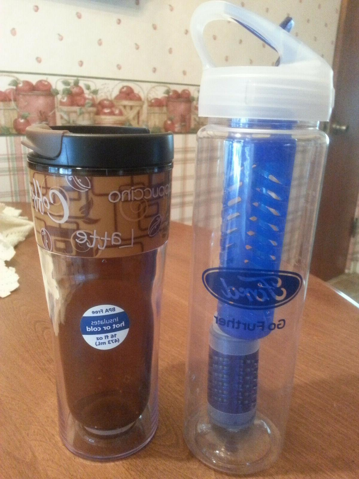 lot of two new water bottles coffee