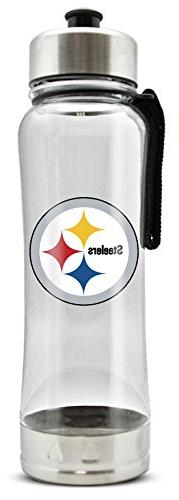 NFL Pittsburgh Steelers 20oz Clip-On Clear Plastic Water Bot
