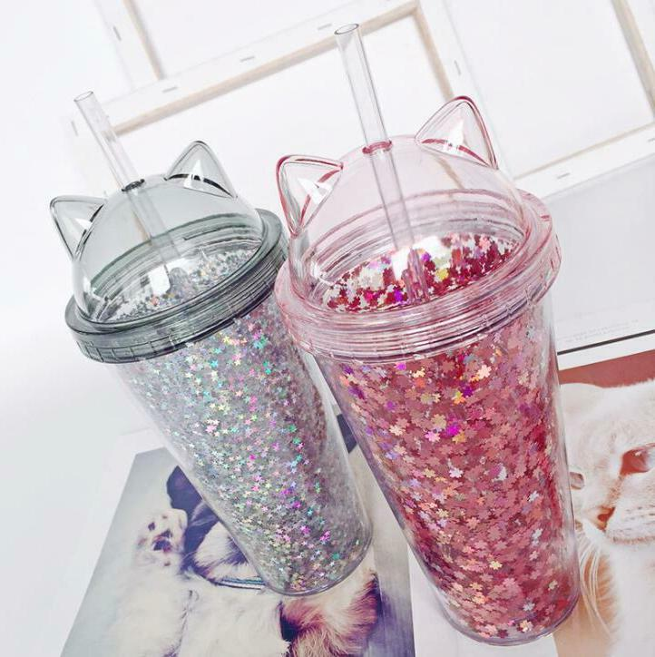 Plastic BPA Water Bottle with Straw Cups Flash Cat Ear Doubl
