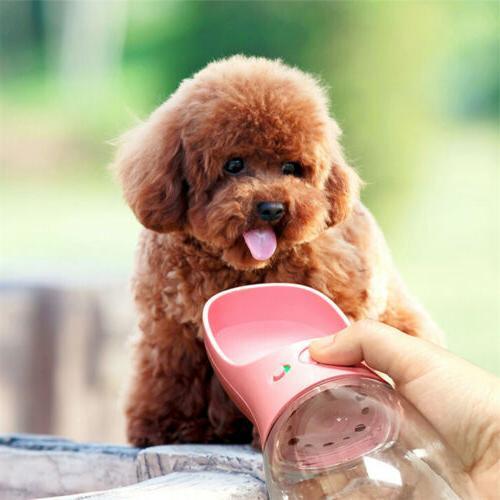 Portable Pet Bottle Dispenser for Cat Puppy Travel Feeder Tray Bowl