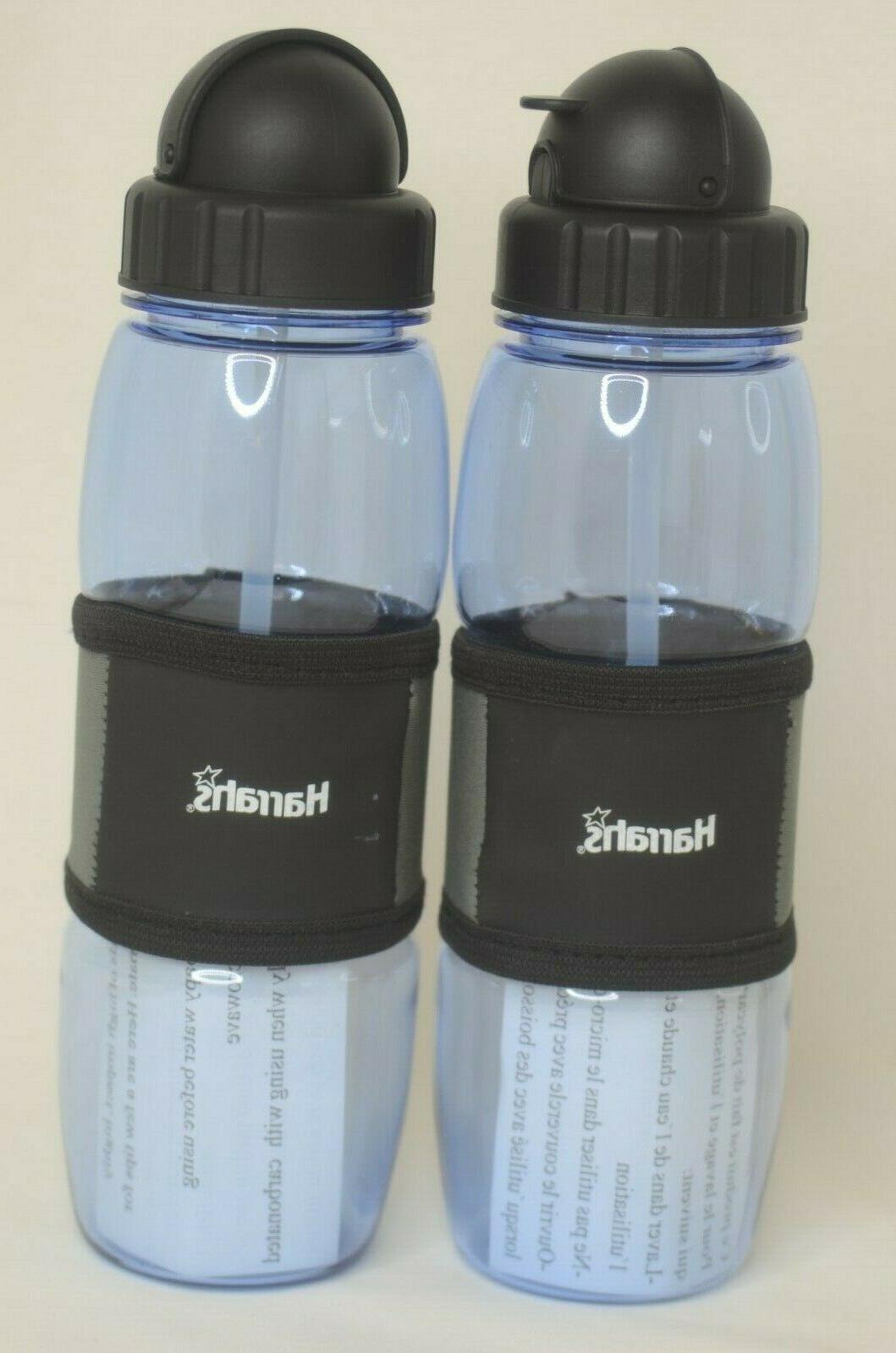Harrah's Resort Water Bottles Two Carabiner & Straws