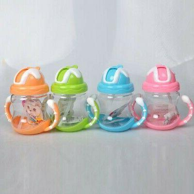 Kids Baby Sippy Drinking Water Bottle Cup Straw Toddler Infa