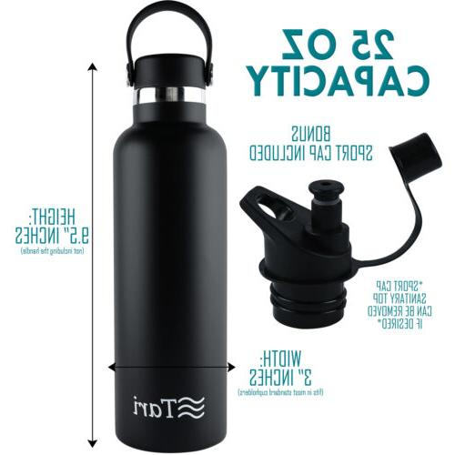 TARI Stainless Steel Bottle Wide Mouth Cap Insulated 25 Black