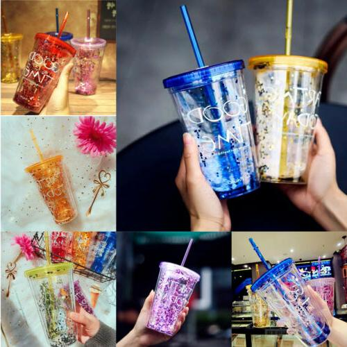 Summer Water Bottle Smooth Milk Shake Bottles With Straw Tra