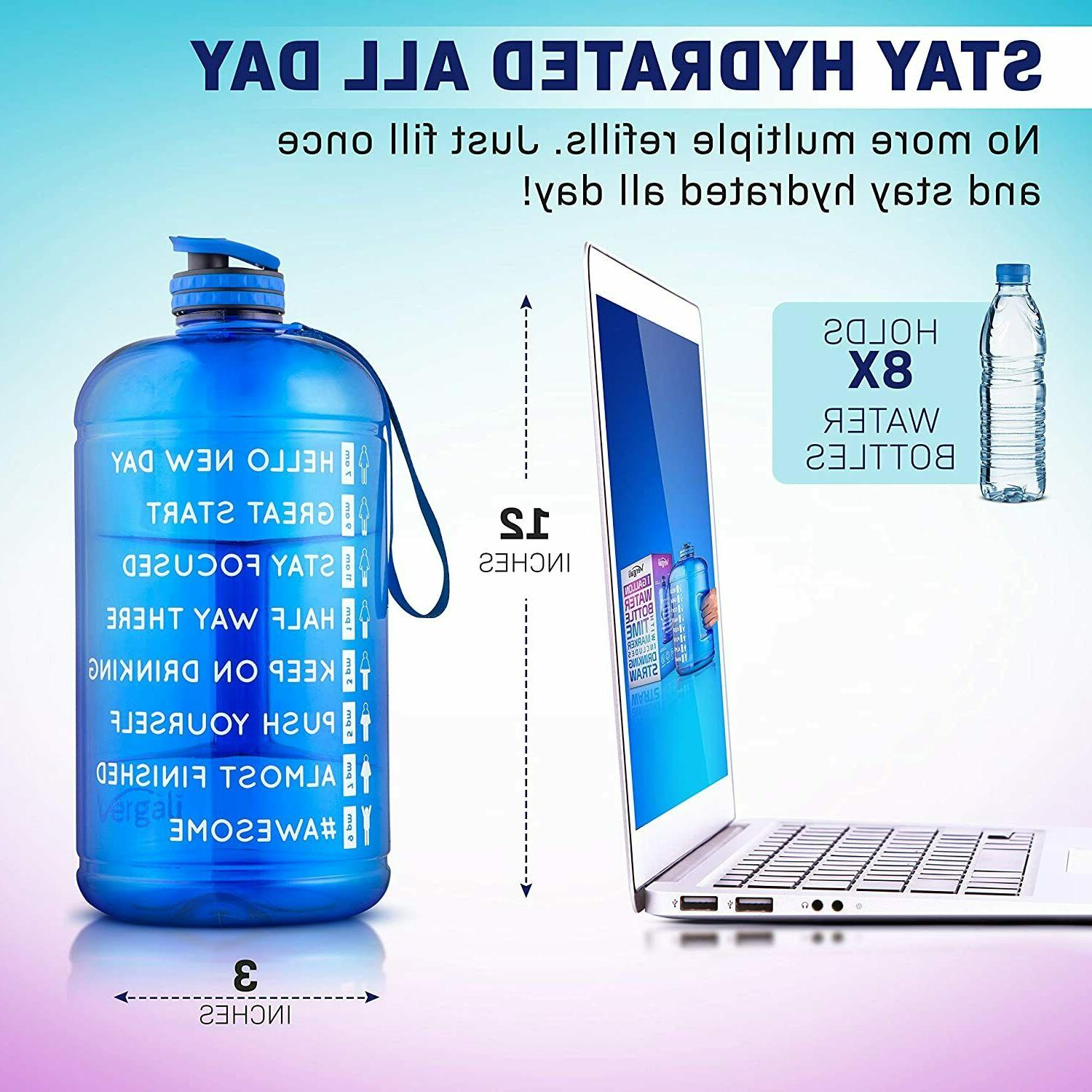 Water Bottle with Marker Straw Increase Your Water Intake