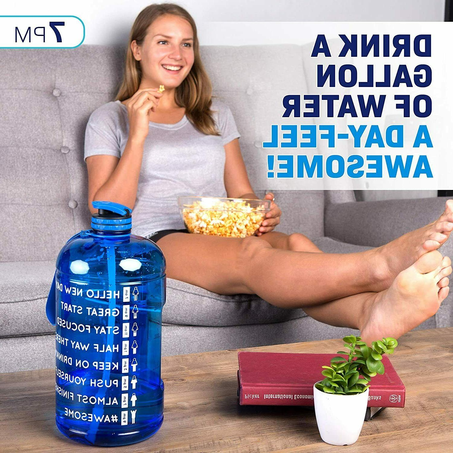 Water Bottle Gallon with Straw Your Water Intake