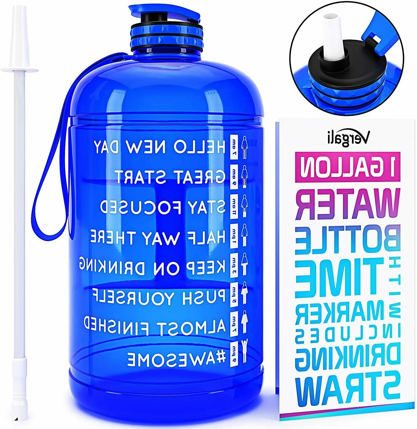 water bottle 1 gallon with time marker