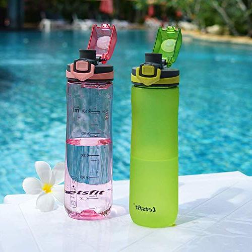Letsfit Sports Water BPA-Free Plastic Water Bottle with Flip-Flop Lid, and Cap, Carry Bottle Camping Travel