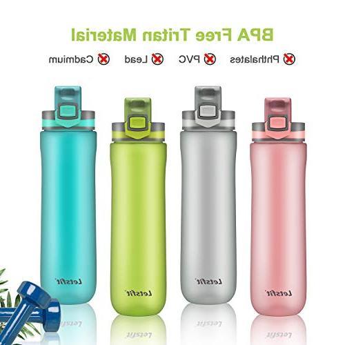 Letsfit Sports Water BPA-Free Plastic Bottle with Flip-Flop Lid, Cap, Carry Loop, 21oz Bottle Camping