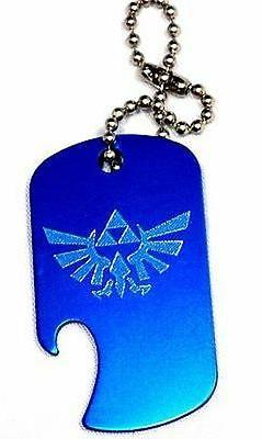 """Zelda Game Blue Key Chain With 4"""" Chain Dog Tag Aluminum Bot"""