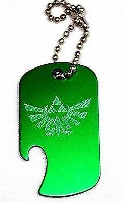 "Zelda Game Green Key Chain With 4"" Chain Dog Tag Aluminum Bo"