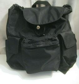 Large Backpack Black w/Zipper Open Side & Front Pockets 2 Si