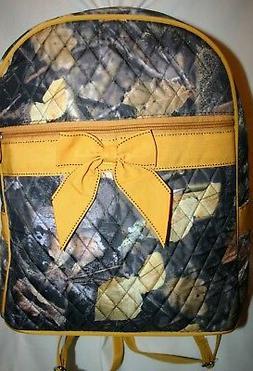 Large Quilted Backpack Camoflauge Side Water Bottle Pocket A