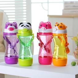 Leak-proof 450ML Water Bottle for kids Cartoon Animals Plast