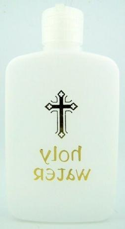 Needzo BULK Holy Water 6 oz Bottle Fancy Edge Gold Cross Des