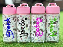 Personalised Custom Kids Unicorn Water Bottle Flip Straw Sch