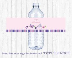 Pink & Purple Butterfly Water Bottle Labels Printable Editab