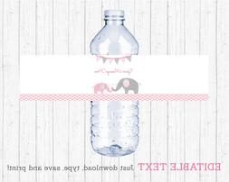Pink Chevron Elephant Water Bottle Labels Printable Editable