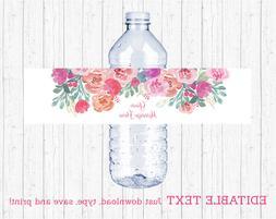 Pink Watercolor Flowers Water Bottle Labels Printable Editab