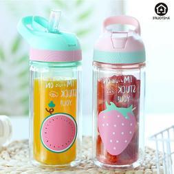 Glass Water Bottle With Straw 500ml Leak-proof Cute Sport Bo