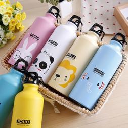 Portable Sports Water Bottle Cute Animals Pattern For School