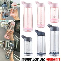 Portable Sports Water Bottles with Straw BPA Plastic Free Le