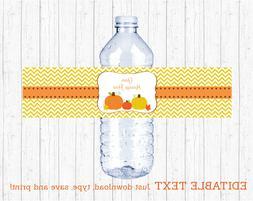 Pumpkin Chevron Gender Neutral Water Bottle Labels Printable