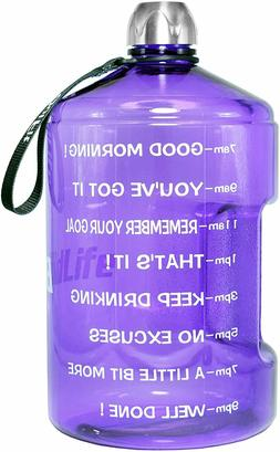 QuiFit Gallon Motivational Water Bottle - with Time Marker &