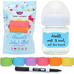 Reusable Baby Bottle Labels for Daycare, 6 MULTI-COLOR Silic